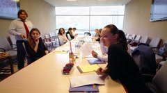 Staff on workshop in conference room of Financial Corporation - stock footage