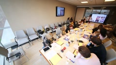 Listeners on business training in conference room of Otkritie Stock Footage
