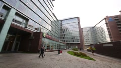 Business center of Otkritie, it company support social projects Stock Footage