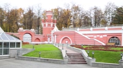 Benches in park area of Petroff Palace in Moscow. Stock Footage