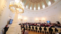 Meeting of 10th Assembly in beautiful hall of Petroff Palace Stock Footage