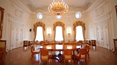 Round table in luxurious living room in Petroff Palace Stock Footage