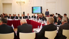 Participants on meeting of 10th Assembly of Congress Stock Footage