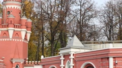 Watchtower of red brick the Petroff Palace in Moscow Stock Footage