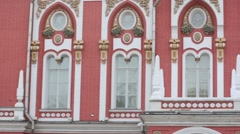 Carved windows of Petroff Palace close up in Moscow. Stock Footage
