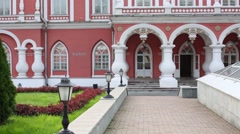 Porch with columns of Petroff Palace in Moscow. Stock Footage