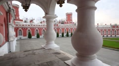 Columns and yard of Petroff Palace in Moscow. Stock Footage
