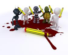3D render of a cartoonist men with pencils and blood - stock illustration