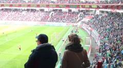Tribunes with fans on stadium Locomotive at match Stock Footage