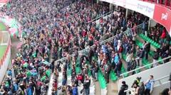 Fans watch soccer at stadium Locomotive (Locomotive - Spartak ) Stock Footage