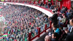 Fans and field with players at stadium Locomotive Stock Footage