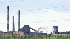 Industrial Towers At Electric Station - stock footage