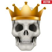Vector Human skull with king gold crown Stock Illustration