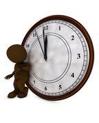 3D Render of Santa Morph Man with clock before midnight - stock illustration