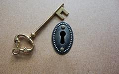 antique key - stock photo