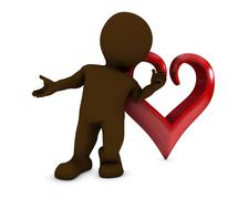 3D Render of a Morph Man with heart.. - stock illustration