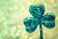 Saint Patricks Day green clover ornament Stock Photos