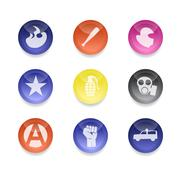 Riot color icons - stock photo