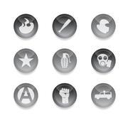 Riot icons - stock photo