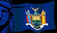 New York Liberty and Flag Stock Illustration