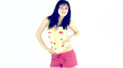 Retro fashion model colourful dancing slow motion on limbo Stock Footage