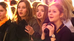 Girls-teenagers show spectators vivid emotions face Stock Footage