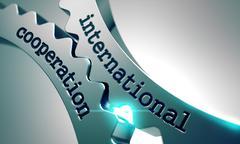 International Cooperation on Metal Gears Stock Illustration