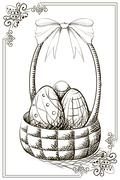 Vintage happy easter postcard with eggs in the basket. Stock Illustration