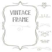 Vintage windy frame with elements Stock Illustration