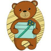 Cute teddy bear with present Stock Illustration