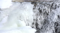 Waterfall with ice Stock Footage