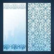 Flayers with arabesque decor - stock illustration