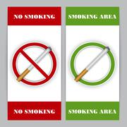 No smoking and Smoking area signs - stock illustration