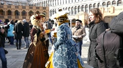Venice Carnival masks and costumes. Stock Footage