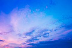 Sky, Bright Blue, Pink And Purple Colors Sunset Stock Photos