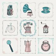 Vintage icons and frames - stock illustration