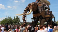 Elephant ride of Nantes Stock Footage