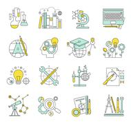 Flat design concept icons on marketing theme Stock Illustration