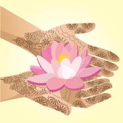 Hands decorated with henna indian woman holding a lotus flower. Stock Illustration