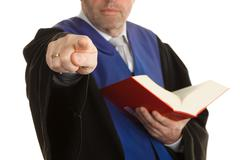 judge in court with code - stock photo