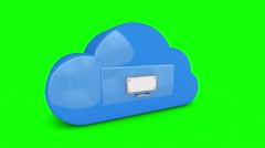 Cloud computing storage filing drawer on white background Stock Footage