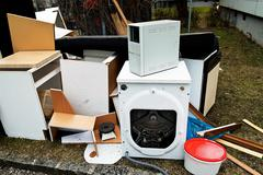 Bulky waste. furniture and electrical appliances. Stock Photos