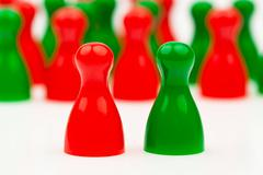 red-green coalition government - stock photo