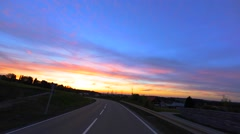 Driving through a Village, Sunset, Part 01 of 11 Stock Footage