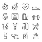 Fitness and Health icons Stock Illustration