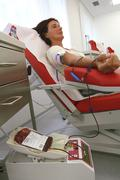woman at the blood donation - stock photo