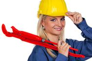 Woman in blue work clothes Stock Photos