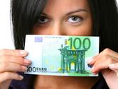Woman with money € banknote Stock Photos