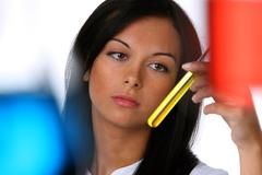 Young woman in a research laboratory Stock Photos