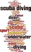 Scuba diving word cloud Stock Illustration